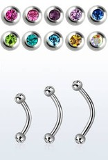 16g Barbell with clear jewel - 12mm