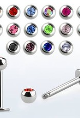 Crystal labret 16g, 3mm ball, 10mm - Jet