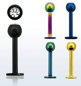 Anodized labret w/clear crystal, 16g, 3mm ball- Black