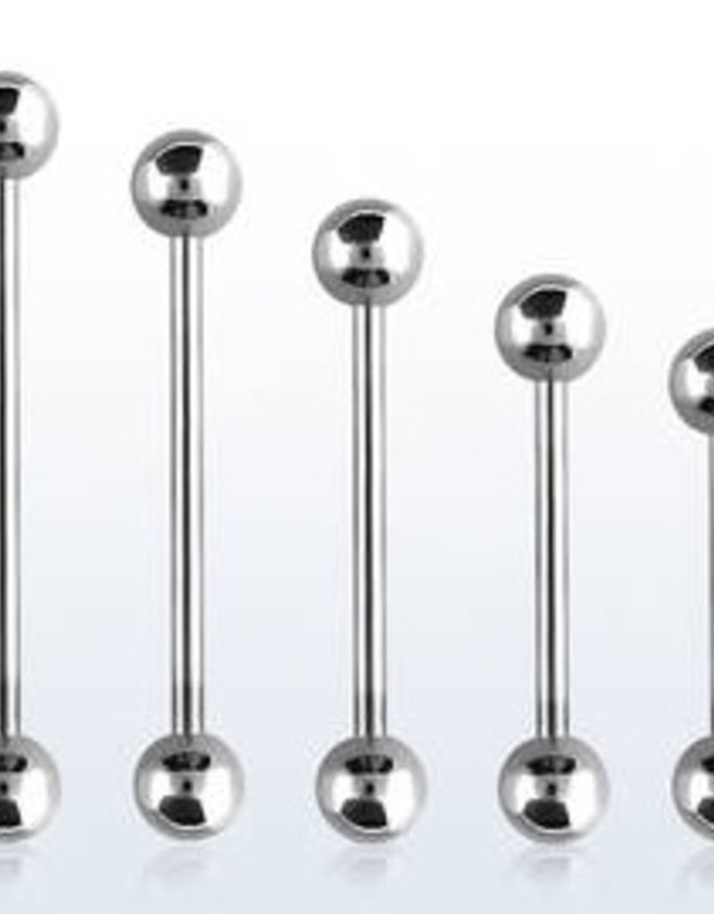 14g  surgical steel tongue barbells with 6mm balls length -19mm