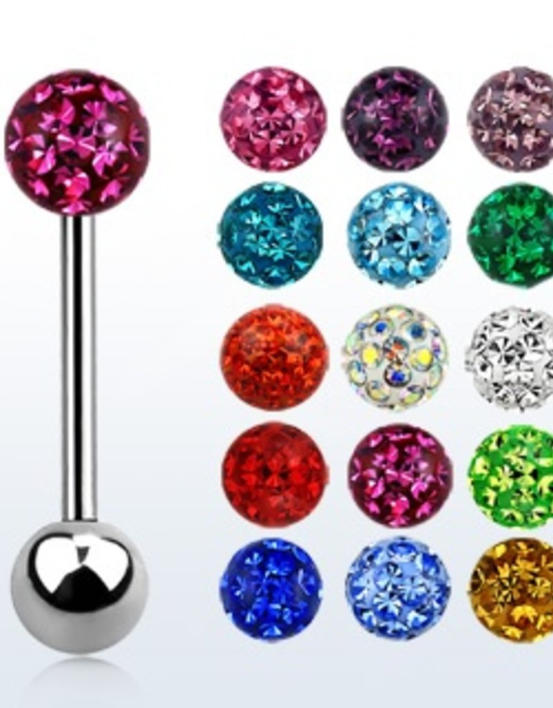 Surgical steel tongue barbell, 14g with 6mm ferido glued multi crystal ball - length 19mm- Clear