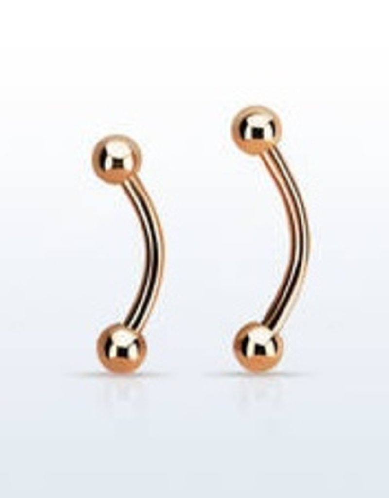 Rose gold PVD plated surgical steel eyebrow Barbell, 16g with two 3mm balls