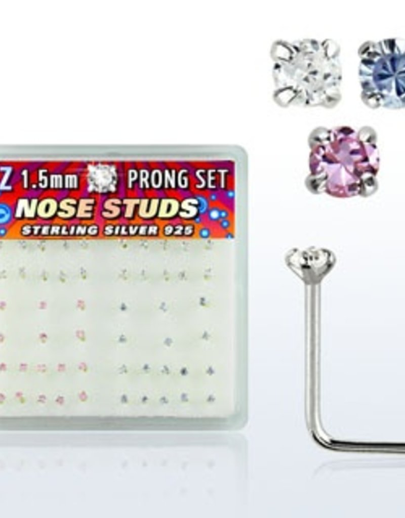 925 sterling silver nose studs, 22g  with round prong set CZ stone