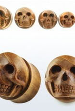 2pc. Teak wood double flared plug with hand carved skull-3/4""