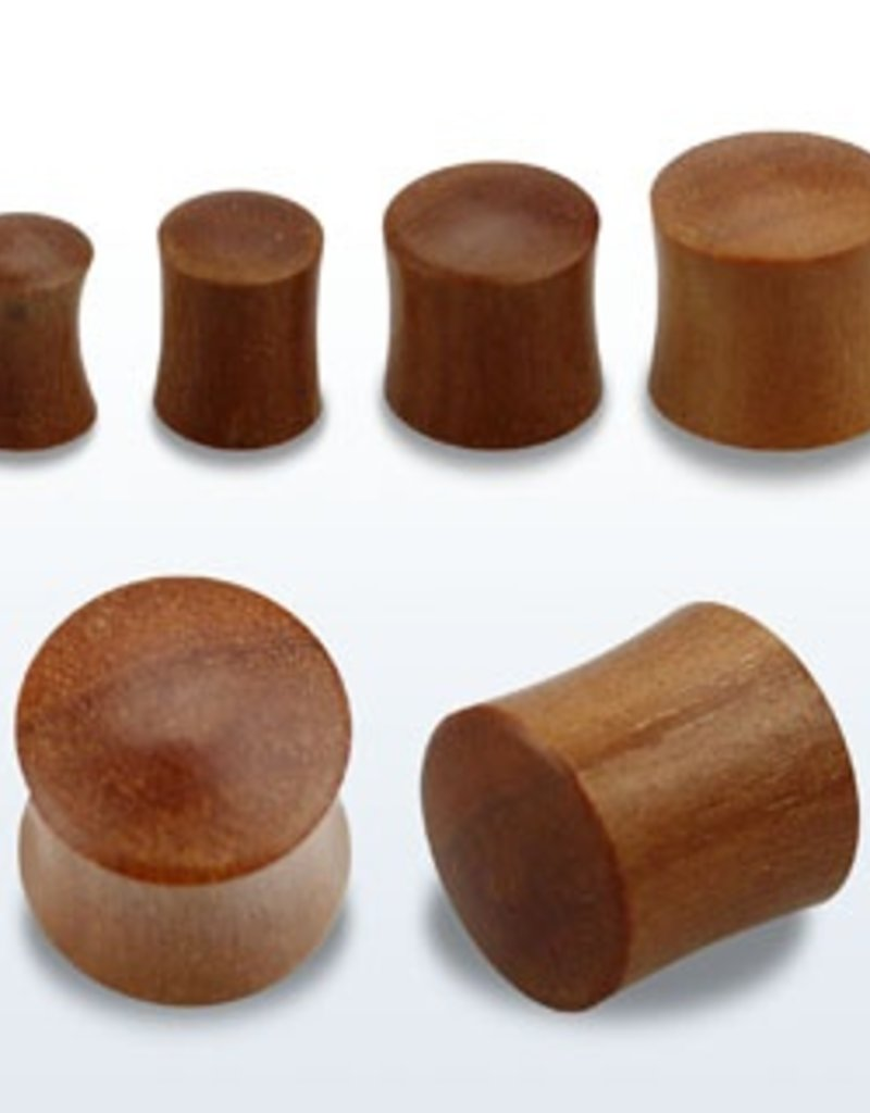 2pc. Teak wood double flared solid plug-4g