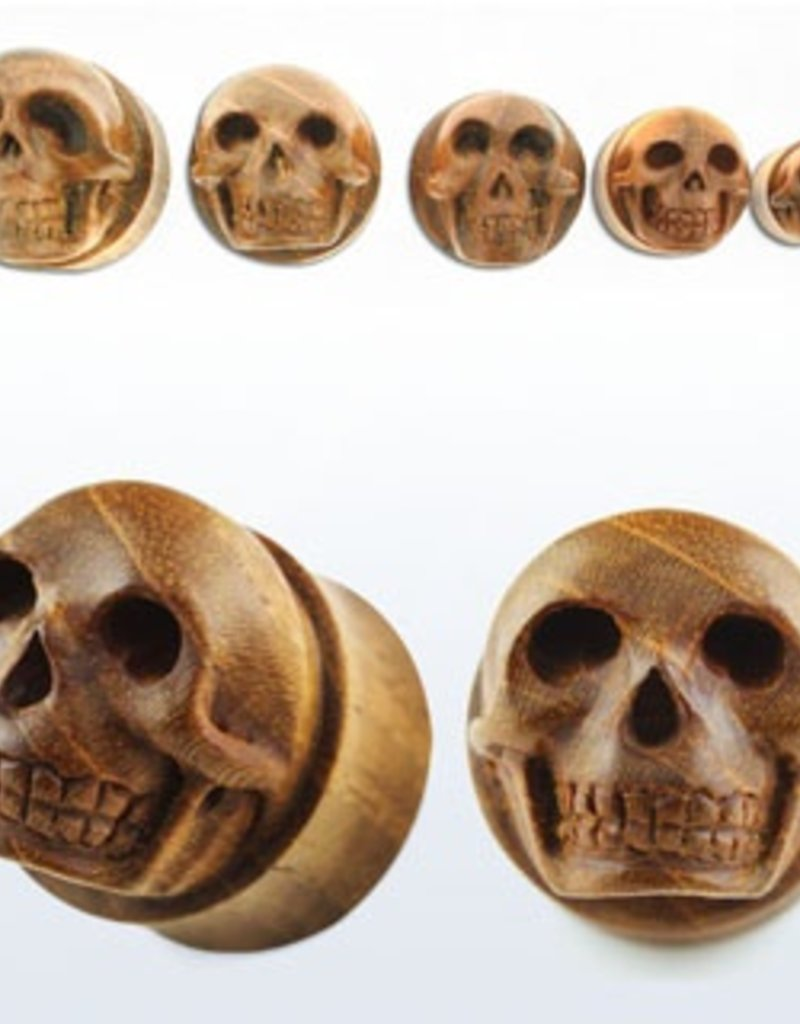 """2pc. Teak wood double flared plug with hand carved skull-7/8"""""""