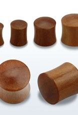 2pc. Teak wood double flared solid plug-1/2""