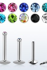 Surgical steel internally threaded labret, 16g with bezel set jewel flat head- Clear