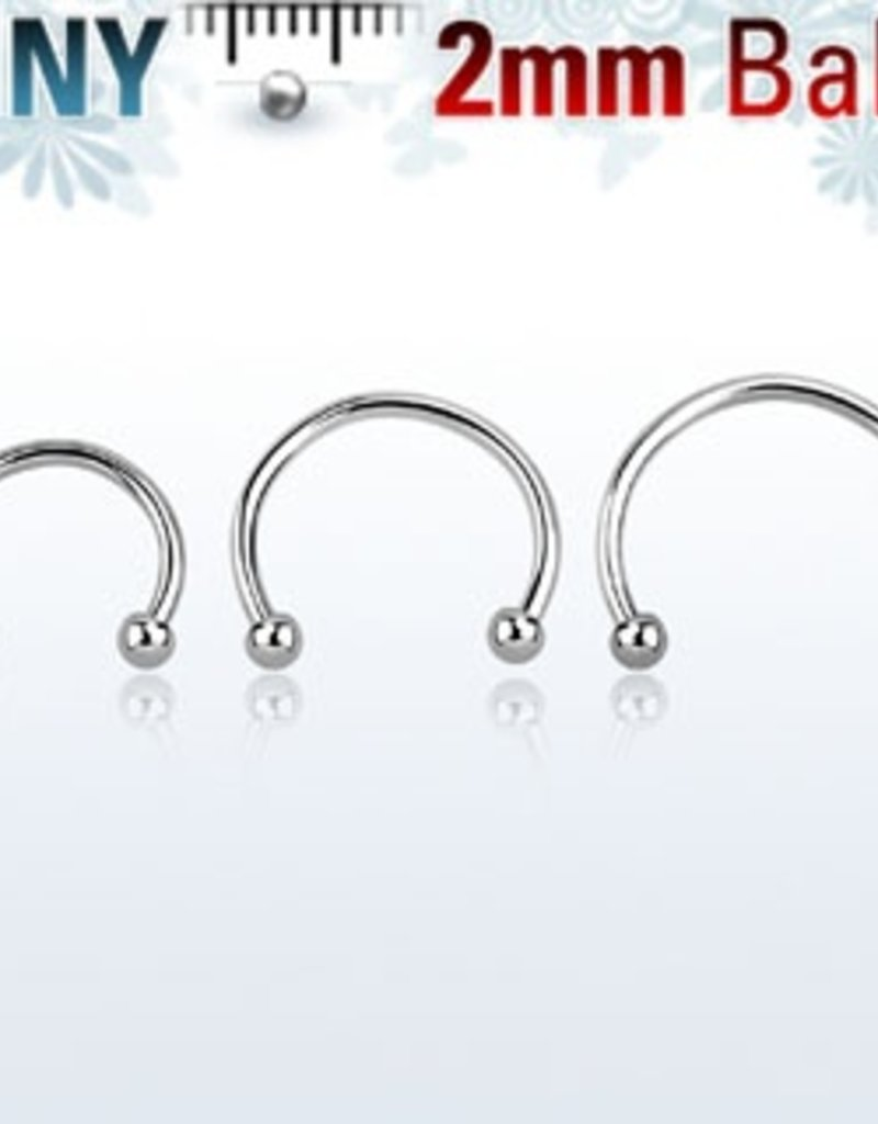 Circular barbell 18g (eyebrow), 2mm ball-10mm