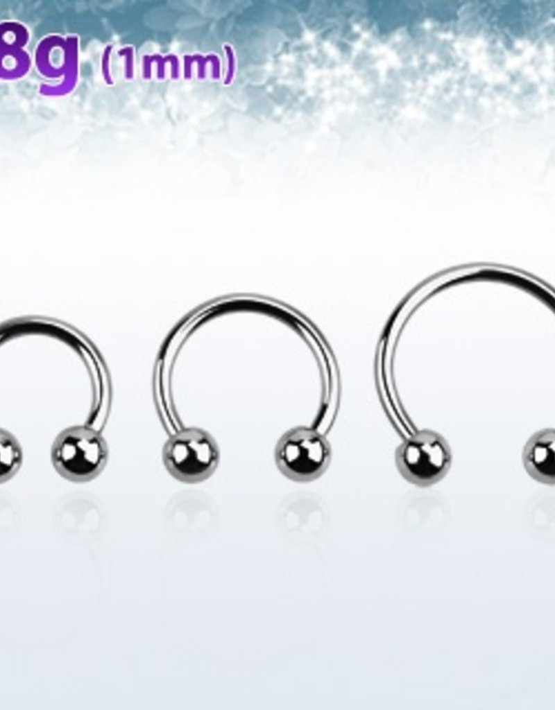 Surgical steel circular barbell, 18g with two 3mm balls - length 8mm