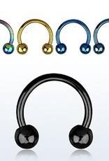 Anodized circular barbell, 14g, 5mm balls,