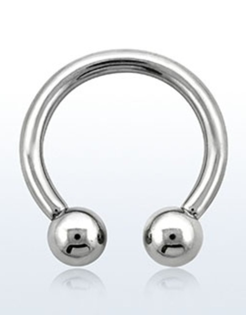 Surgical steel circular barbell, 10g  with two internally threaded 6mm balls - 14mm