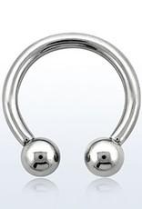 Circular barbell, 8g, 6mm balls, 5/8''; internal threading