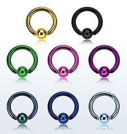 Premium PVD plated surgical steel ball closure ring, 16g with 3mm ball - Black-10mm