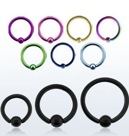 Premium PVD plated surgical steel ball closure ring, 14g  with 4mm ball - 8mm- Black