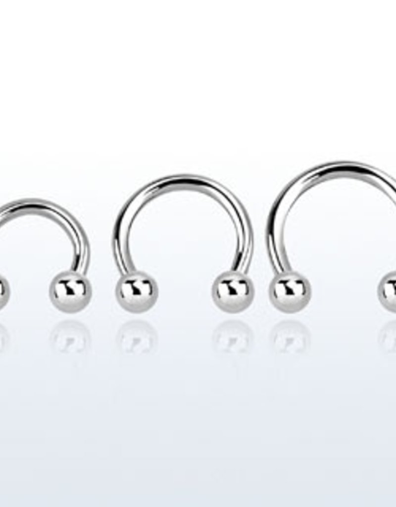 Surgical steel circular barbell, 16g with two 3mm balls - 8MM