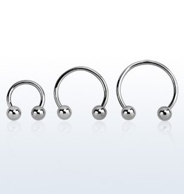Surgical steel circular barbell, 16g with two 3mm balls - 10MM