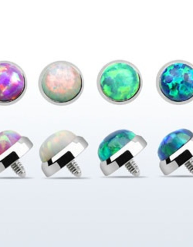 5mm Titanium G23 dermal anchor top part with synthetic opal for internally threaded, 16g- Pink