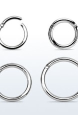 High polished surgical steel hinged segment ring, 16g -10MM