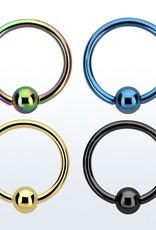 Anodized ball closure ring - 18g (eyebrow), 3mm ball,8mm-Black