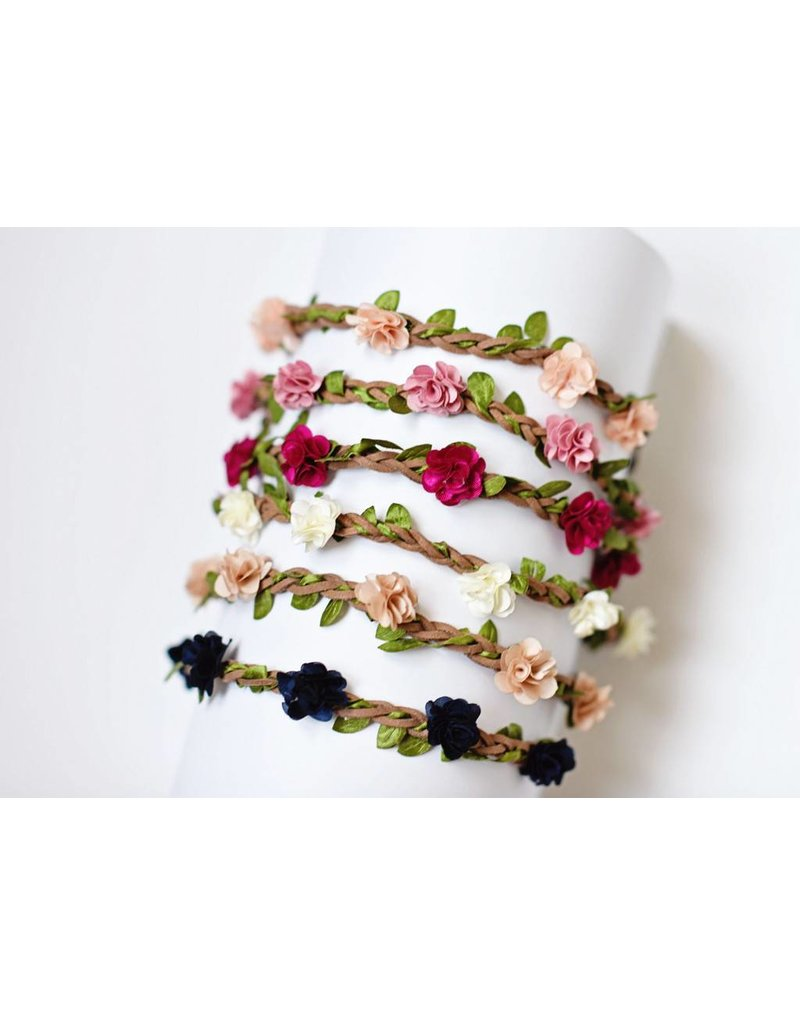 Bailey's Blossoms Braided Leather Floral Headband