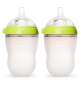 Comotomo Comotomo Natural Feel Baby Bottle - Green 8 oz Double