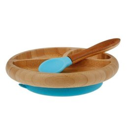 Avanchy Bamboo Baby Plate + Spoon Blue