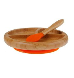Avanchy Bamboo Baby Plate + Spoon Orange