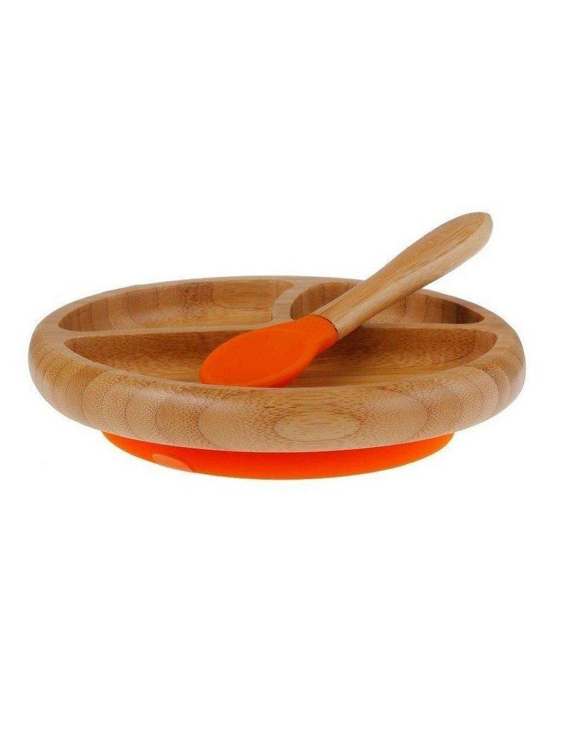 Bamboo Baby Plate + Spoon Orange