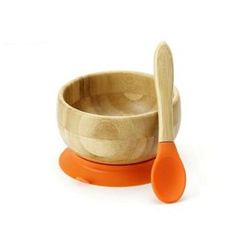 Avanchy Bamboo Baby Bowl + Spoon Orange