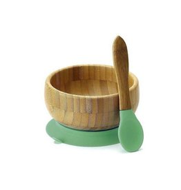 Avanchy Bamboo Baby Bowl + Spoon Green