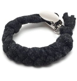 Cotton Pacifier Clip - Charcoal