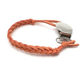 Loved by Sophia Claire Suede Pacifier Clip - Orange