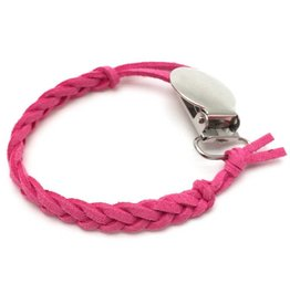 Suede Pacifier Clip - Pink Poppy