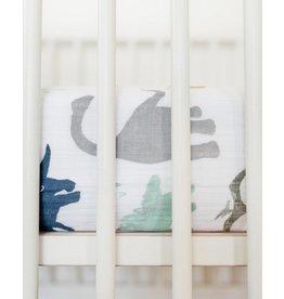 Little Unicorn Cotton Muslin Crib Sheet - Dino Friends