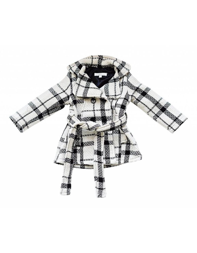 Black Plaid Pea Coat 5T