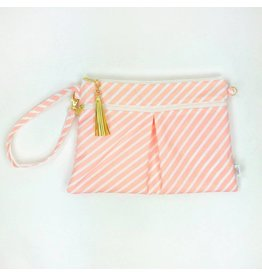 Logan + Lenora Wristlet Clutch - Blush Stripe