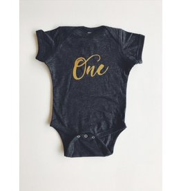 'One' Onesie - Gold 6-12m