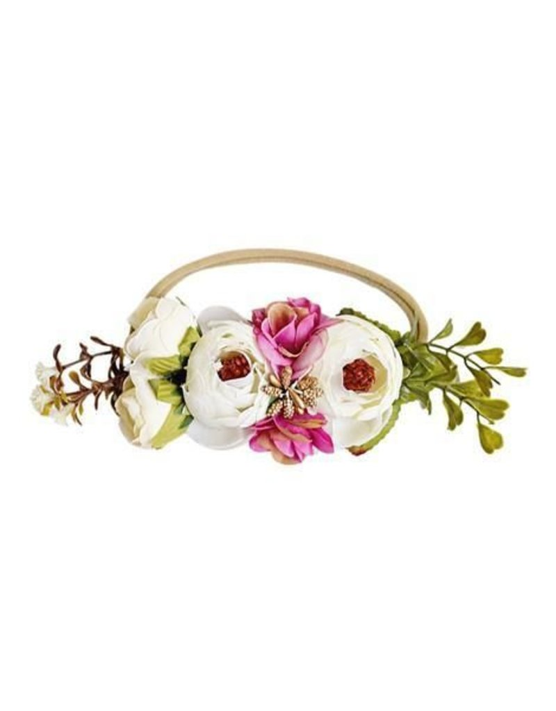 Bailey's Blossoms Floral Stretch Headband - Ivory & Fuchsia