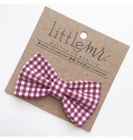 Cranberry Gingham Bow Tie