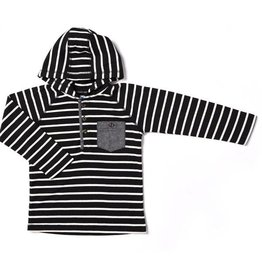 Black Stripe Thermal Hooded Henley