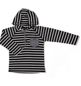 Kapital K Black Stripe Thermal Hooded Henley