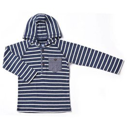 Blue Shadow Stripe Thermal Hooded Henley