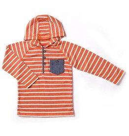 Kapital K Pumpkin Stripe Thermal Hooded Henley