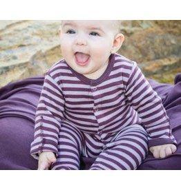 L'oved Baby Organic Footed Sleeper, Purple Stripe