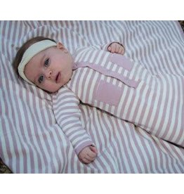 L'oved Baby Organic Gown Sleeper, Mauve & Beige
