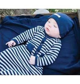 Organic Gown Sleeper, Navy & White
