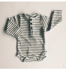 MinyMo Black and White Speckle Stripe Bodysuit
