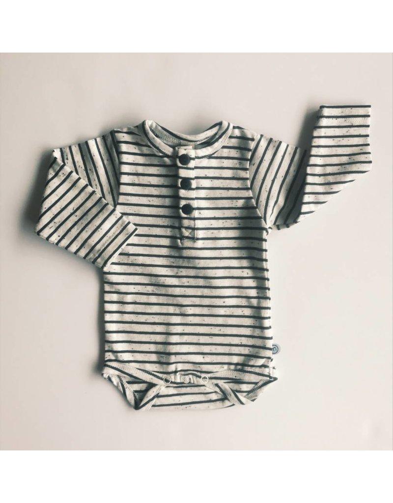 MinyMo Black and White Speckle Stripe Bodysuit
