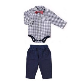 Plaid Onesie with Bow Tie & Pants Set
